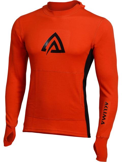 Aclima M's WarmWool Hood Sweater Poinciana/Jet Black